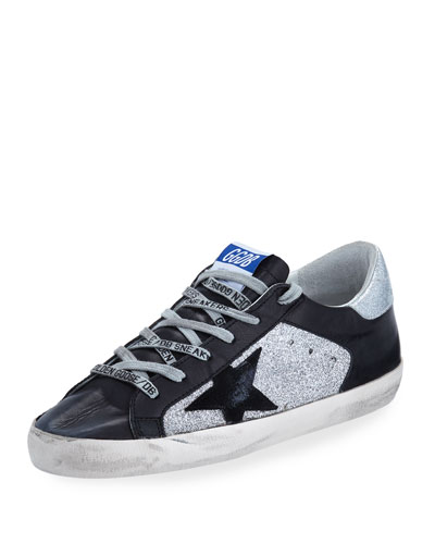 Superstar Glitter & Leather Low-Top Sneakers