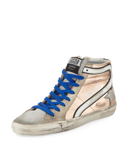 Slide Metallic Leather High-Top Sneaker