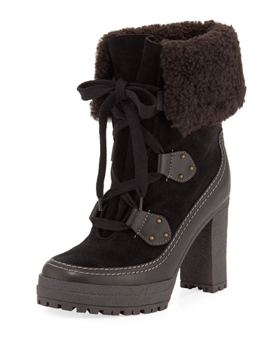Fur-Lined Lace-Up 90mm Booties