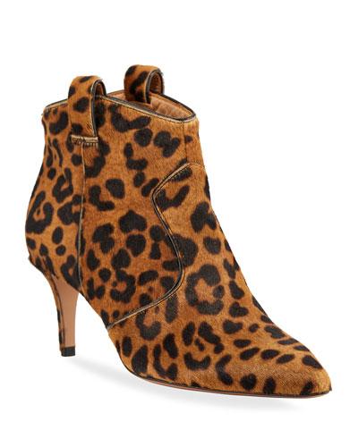 Lexi Leopard-Print Calf Hair Pointed 65mm Booties