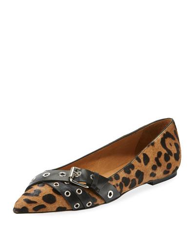 Maxine Leopard-Print Calf Hair Flats