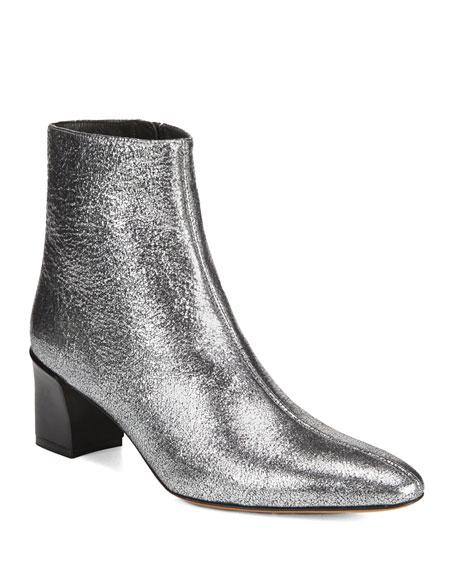 Women'S Lanica Metallic Leather Block Heel Booties, Silver
