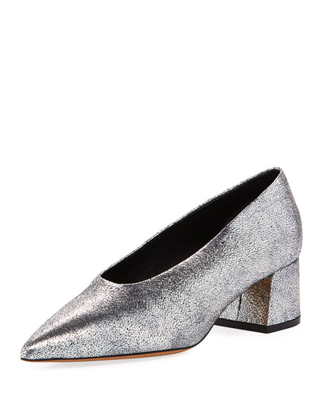 Women'S Rafe Metallic Leather Pointed Toe Pumps, Silver
