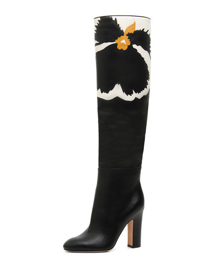 Pansy Bloom Leather Knee Boots, Black