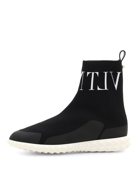 Vltn High-Top Sock Sneaker in Black