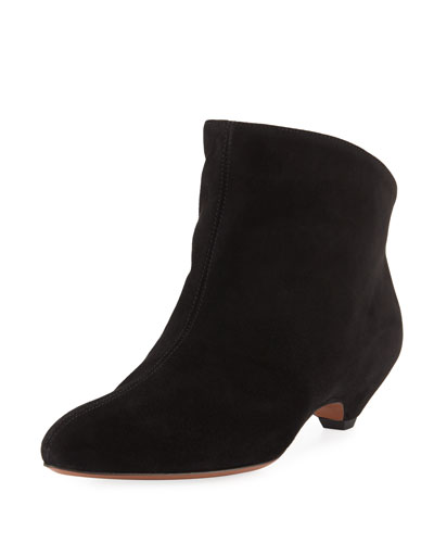 Suede Kitten-Heel Booties