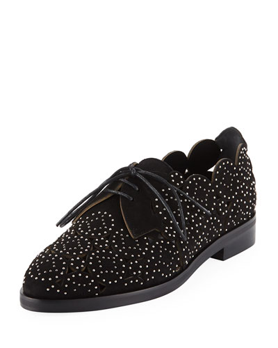 Laser-Cut Studded Loafers