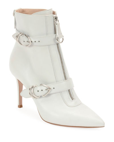 Napa Buckled Zip-Front Ankle Bootie, White