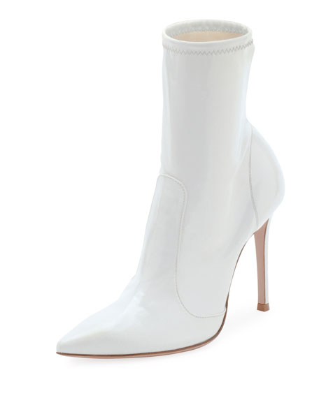 GIANVITO ROSSI Imogen Patent Leather Ankle Boots, White