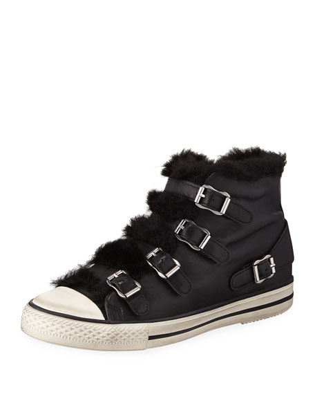 Women'S Valko Leather & Faux-Shearling High Top Sneakers, Black