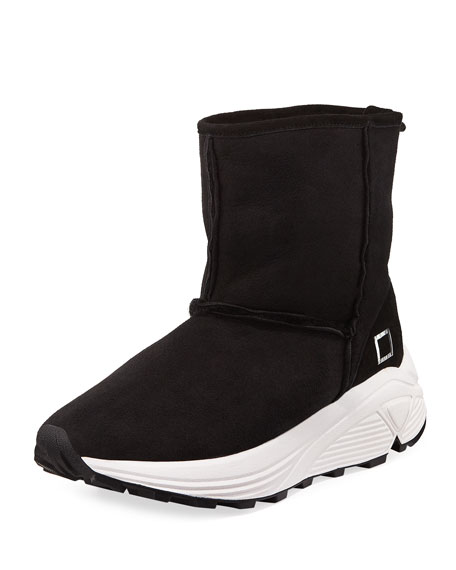 D.A.T.E. DAFNE SUEDE FAUX-SHEARLING BOOT SNEAKERS