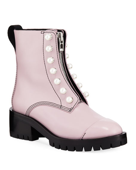 Hayett Faux Pearl-Embellished Leather Ankle Boots in Pink