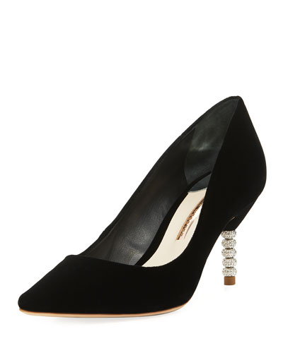 Coco Velvet Crystal-Heel Pumps