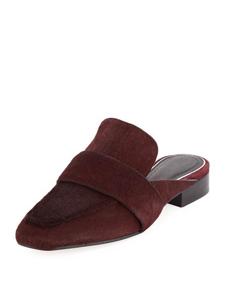 Aslen Genuine Calf Hair Loafer Mule, Red