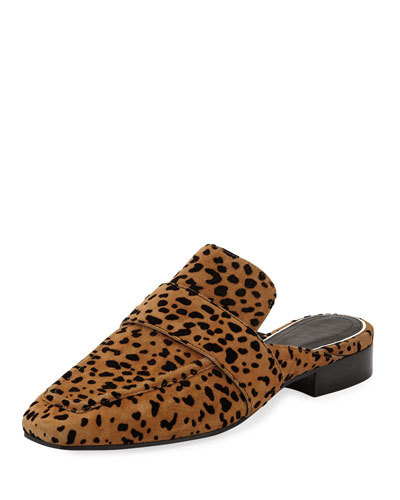 Aslen Cheetah-Print Suede Loafer Mules