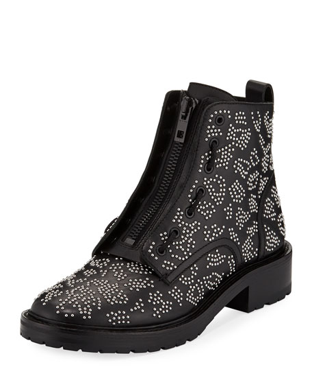 Cannon Studded Leather Zip Boots, Leopard