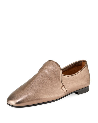 Revy Flat Metallic Leather Loafers