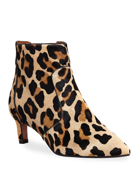 AQUATALIA Women'S Marilisa Printed Calf Hair Booties in Leopard Calf Hair