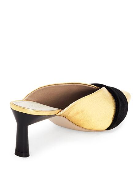 Okima Metallic Slide Mules w/ Half Bow