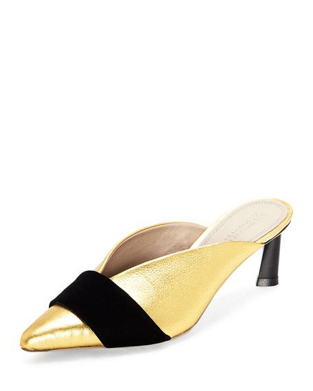 Mercedes Castillo Okima Metallic Slide Mules w/ Half