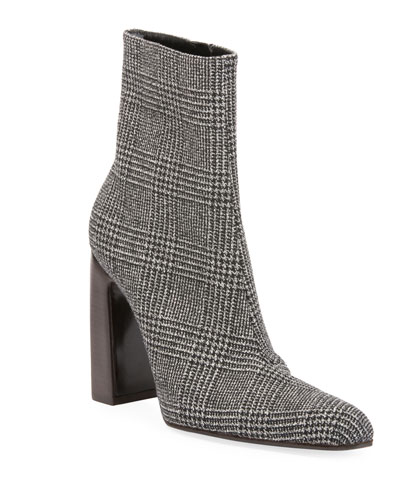 Prince of Wales Plaid Block-Heel Booties
