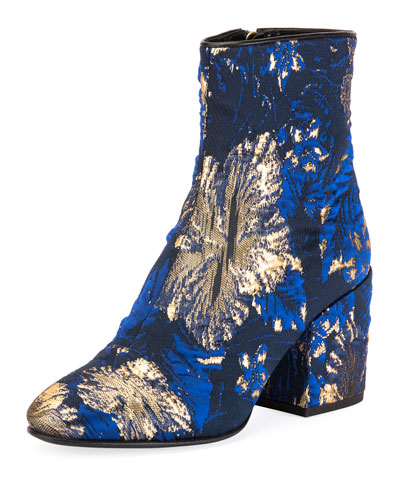 Chunky-Heel Brocade Booties