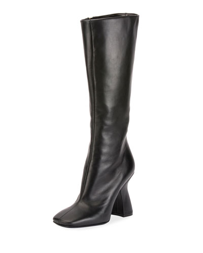 Louis-Heel Leather Knee Boot