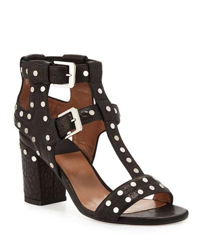 Helie Studded Leather Caged Sandals, Black