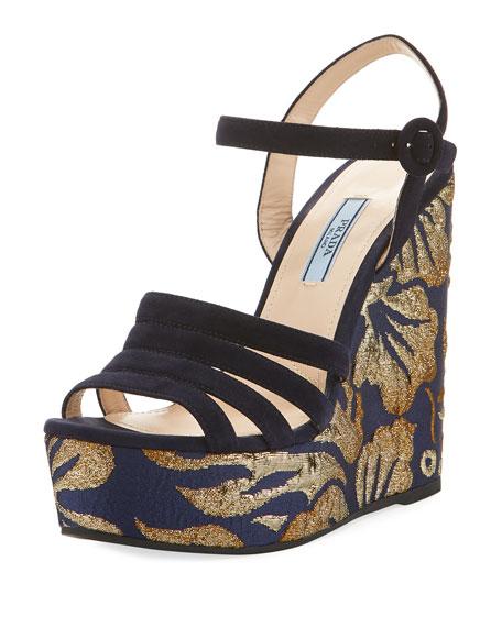 Metallic Jacquard Platform Sandal