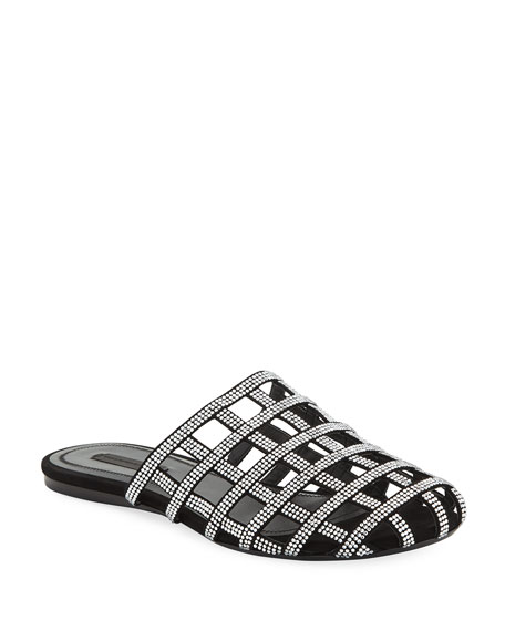 Alison Crystal-Embellished Leather Slippers in Black