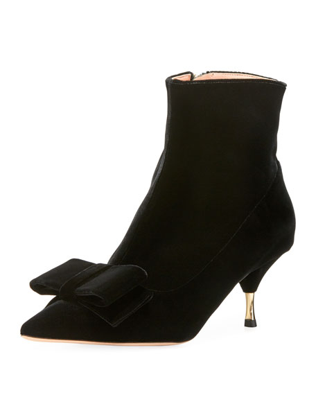 Velvet Kitten-Heel Booties in Black