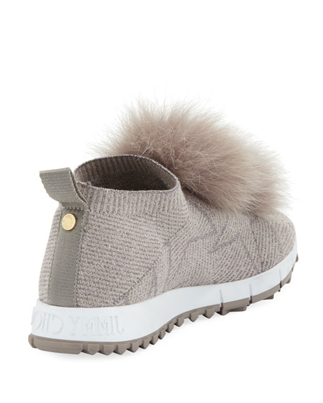 1900b2211a7e Jimmy Choo Norway Slip-On Sneakers with Fur Pompom