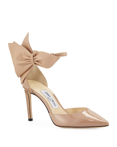 Kathrine Patent Pumps with Bow, Pink