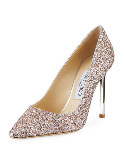 Romy Glitter Fabric Pumps with 100mm Metallic Heel