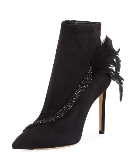 Women'S Tanya 100 Embellished Suede High-Heel Booties in Black