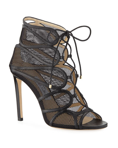 Malena Open-Toe Lace-Up Sandal Booties