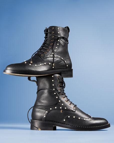 Hanah Studded Lace-Up Combat Boots