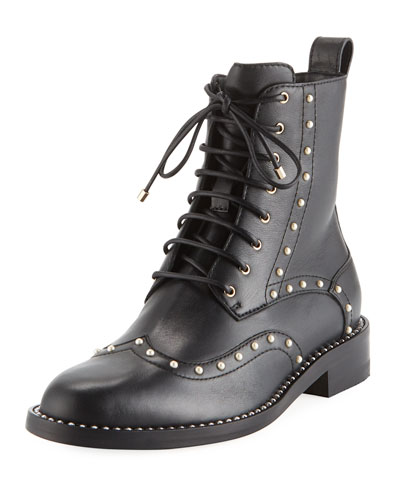 Hanah Studded Lace-Up Combat Boots