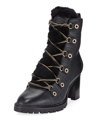 Hillary Fur-Lined Block-Heel Hiker Booties