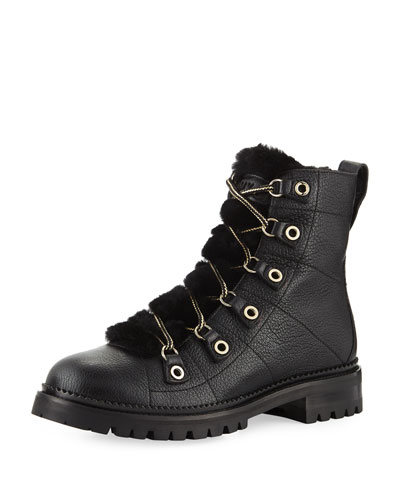 Hillary Lace-Up Leather Hiker Boots with Shearling