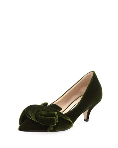 Velvet Pumps with Knotted Bows