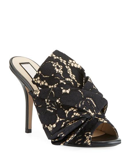 Lace Bow Slide Sandals