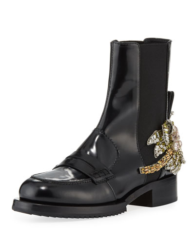 Leather Boots with Crystal Flower