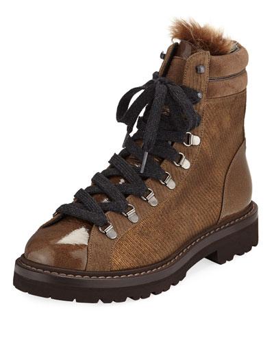 Laminated Corduroy-Effect Hiking Boot