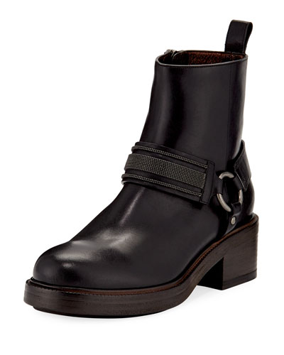Leather Riding Ankle Boot