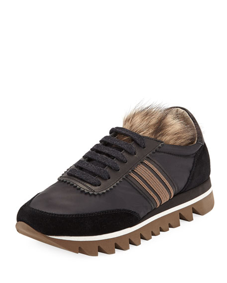 TECHNO BONDED RUNNER SNEAKERS WITH FOX FUR TONGUE