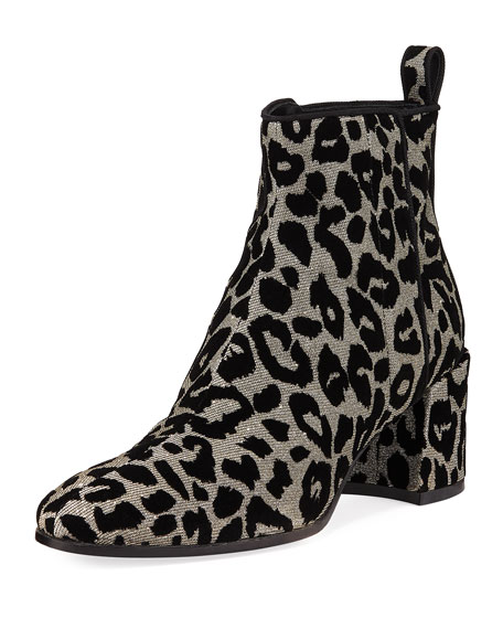 FLOCKED LEOPARD JACQUARD ANKLE BOOTIES