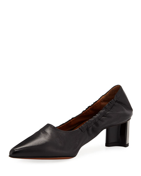 ROBERT CLERGERIE SOLAL SCRUNCHED LEATHER PUMPS