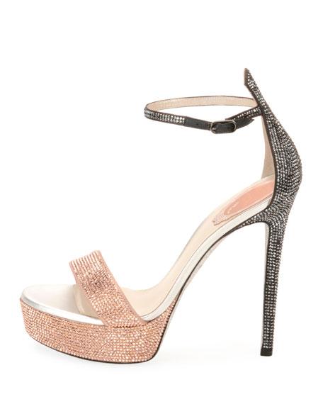 RENÉ CAOVILLA Celebrita Crystal-Embellished Leather Platform Sandals in Bronze