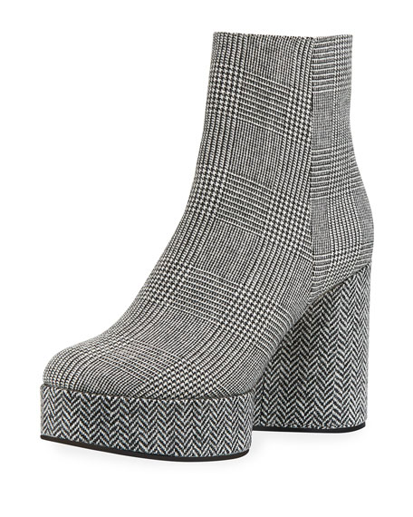 ROBERT CLERGERIE Women'S Belent Round Toe Tweed Platform Booties in Plaid